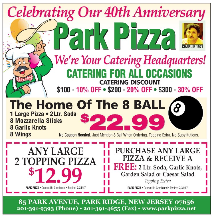 Park Pizza - July Specials